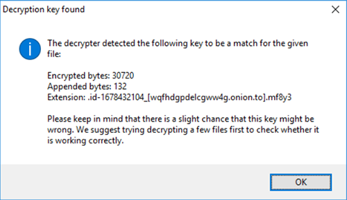'Decryption key found'消息