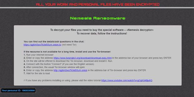 推高昂貴的Nemesis Decryptor工具的贖金條
