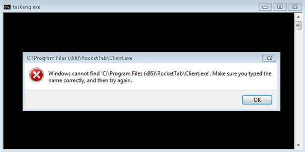 Taskeng.exe彈出視窗伴隨著錯誤對話框