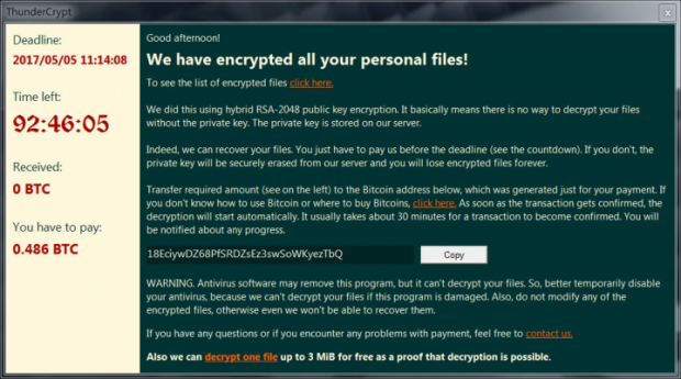 ThunderCrypt勒索軟件報警窗口