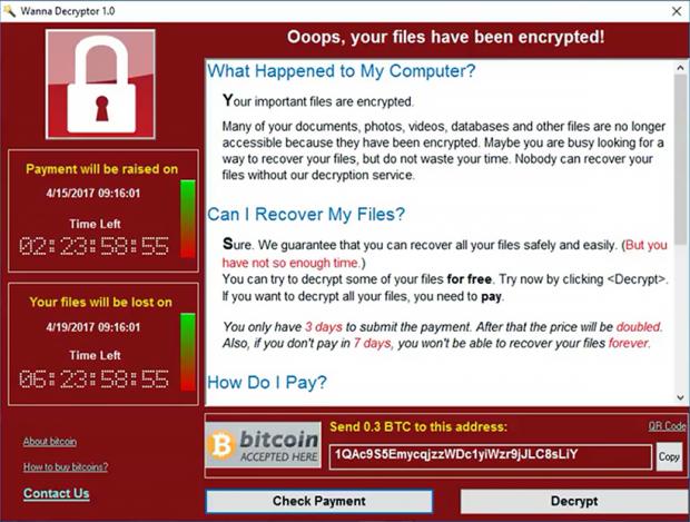 Wcry ransomware顯示的Wanna Decryptor解密窗格
