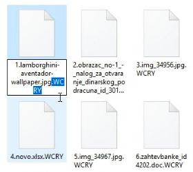 帶有.wcry擴展名的加密文件